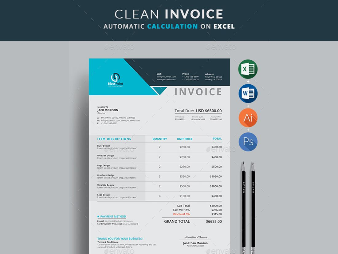 Invoice  Creative Touchs Invoice Template Use This Clean Invoice