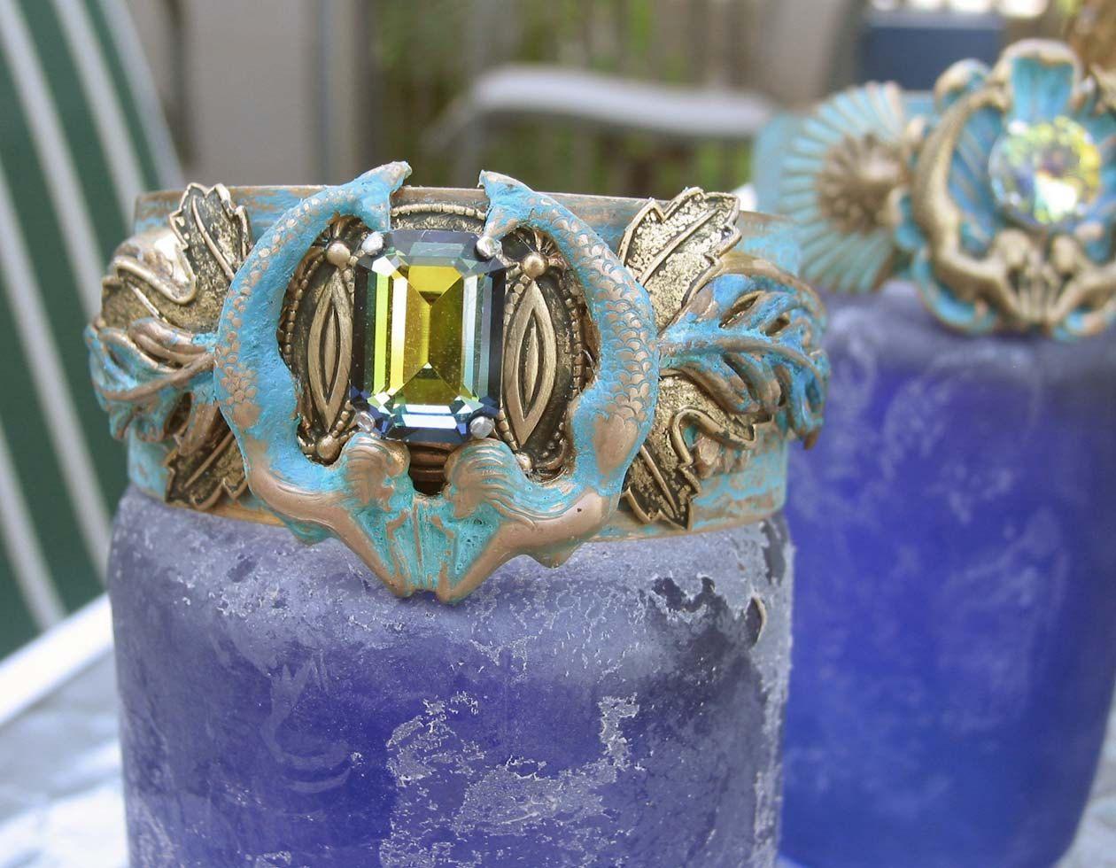 Verdgris Patina Mermaid with Vintage Sahara Swarovski Crystal brass Cuff by steamheat on Etsy