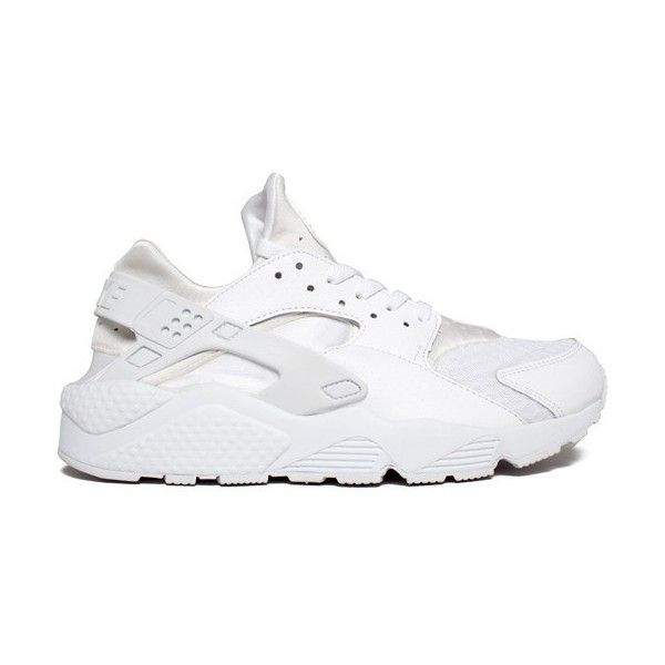 Nike Air Huarache (White/White-Pure Platinum) Consortium (€115) ❤ liked on Polyvore featuring shoes, athletic shoes, sneakers, nike, white running shoes, platinum shoes, nike athletic shoes and athletic running shoes