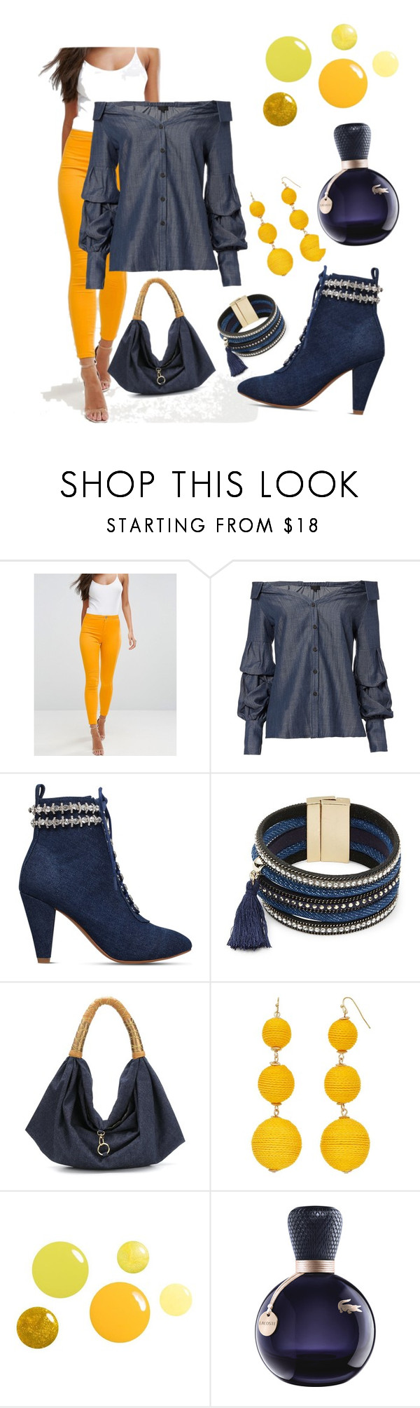 """denim class"" by kkornak on Polyvore featuring ASOS, Exclusive for Intermix, KG Kurt Geiger, Cara, Xaa and Lacoste"