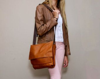 Brown Leather Messenger Bag, Leather lap top Bag, Women leather ...