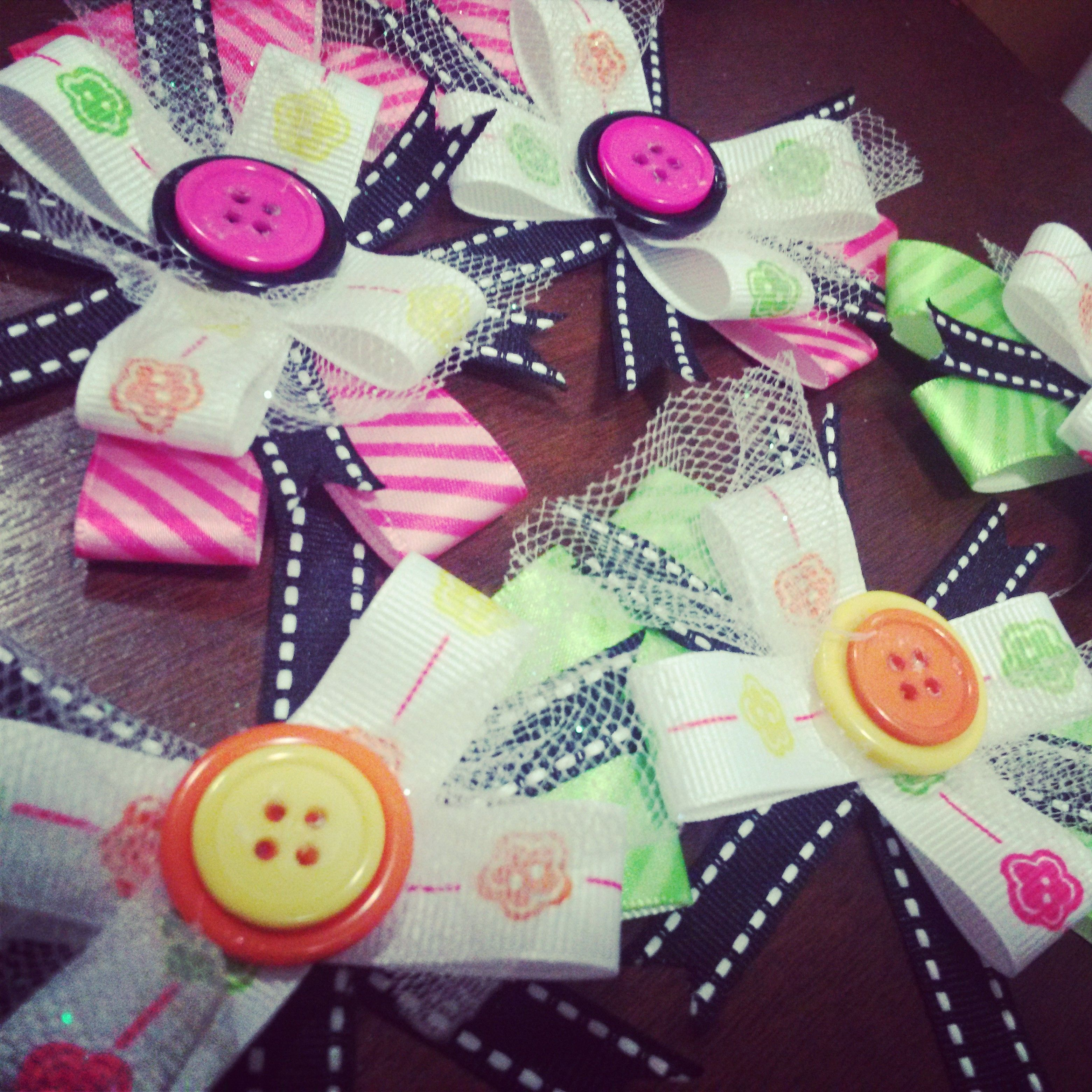 Lalaloopsy Inspired Hair Clips Ribbon Buttons Clips And