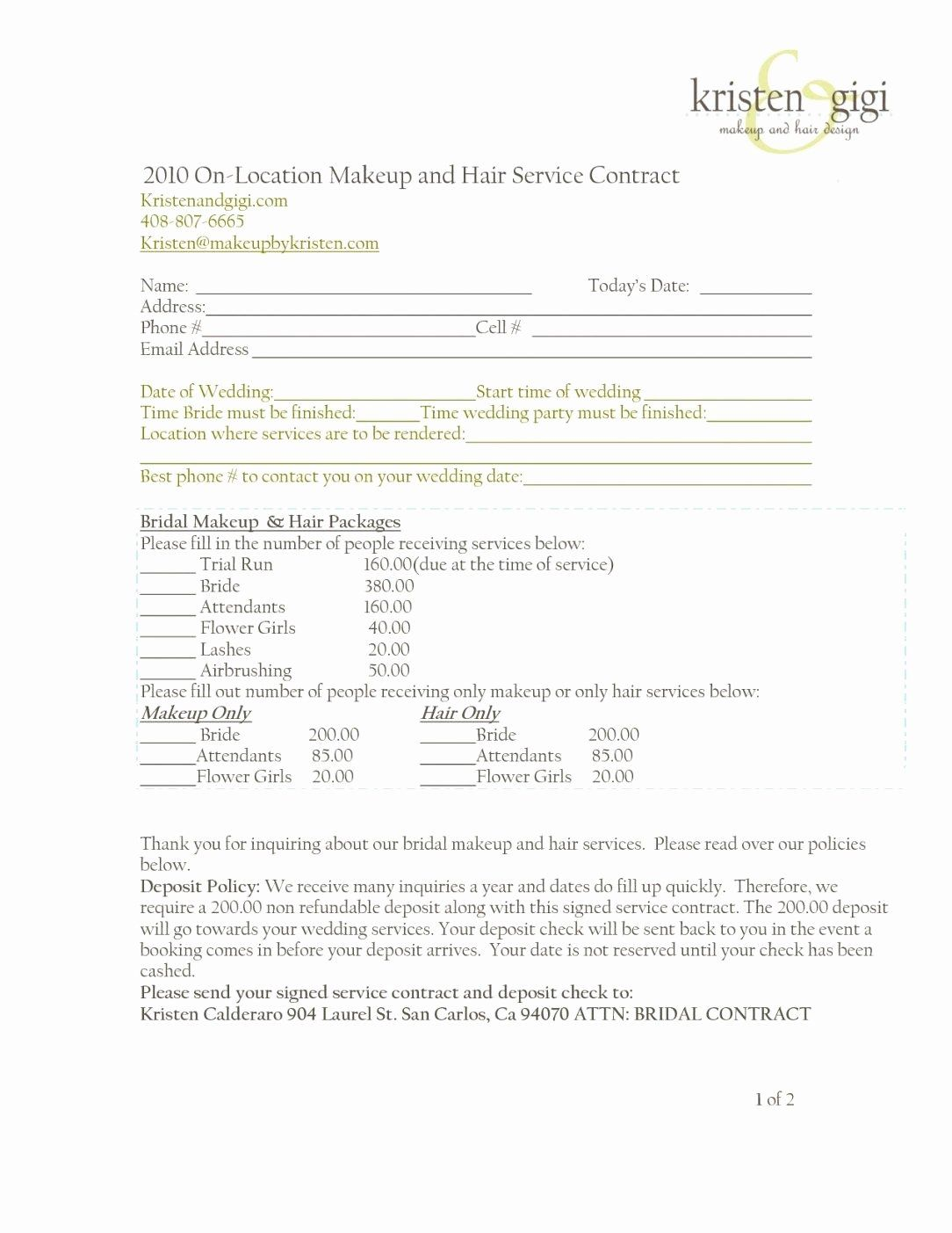 Wedding Hair And Makeup Contract Template Fresh Wedding Hair And Makeup Contract Template Wedding Hair And Makeup Freelance Makeup Freelance Makeup Artist