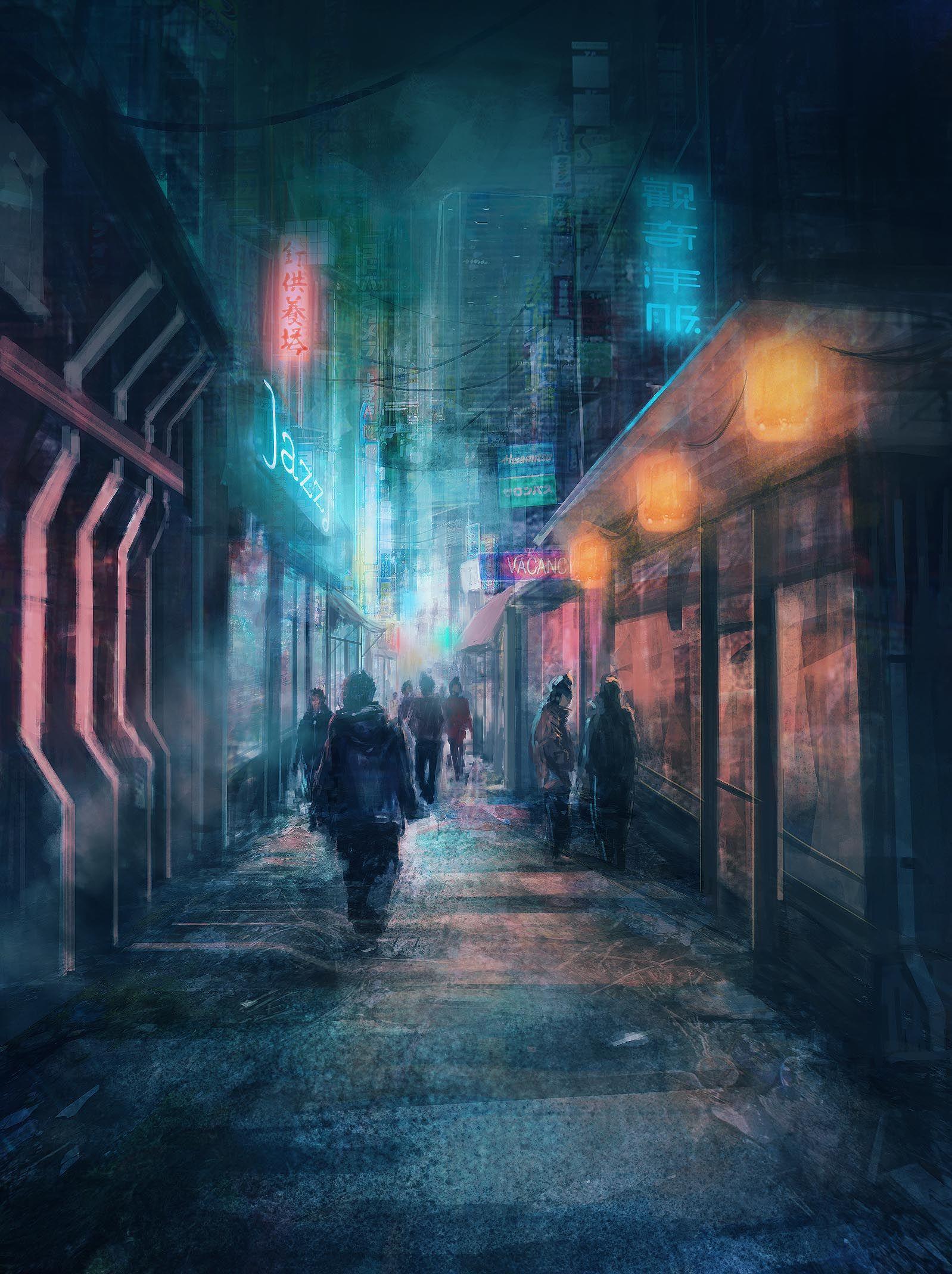 Street Concept By Derek Poole Cyberpunk Art Cyberpunk