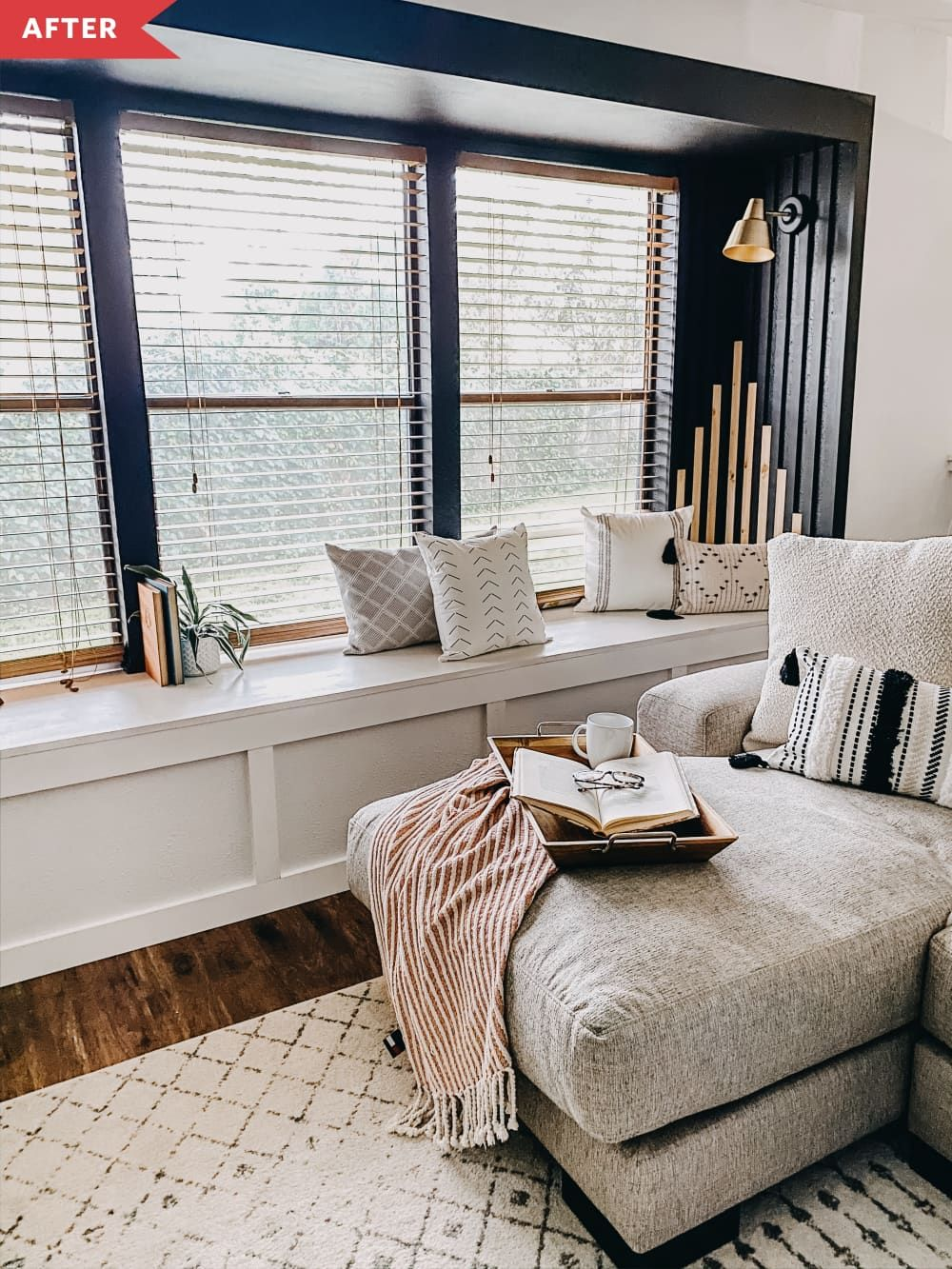 Before And After 200 Made This Living Room Window Seat A Dramatic Focal Point Living Room Windows Large Windows Living Room Living Room Dining Room Combo