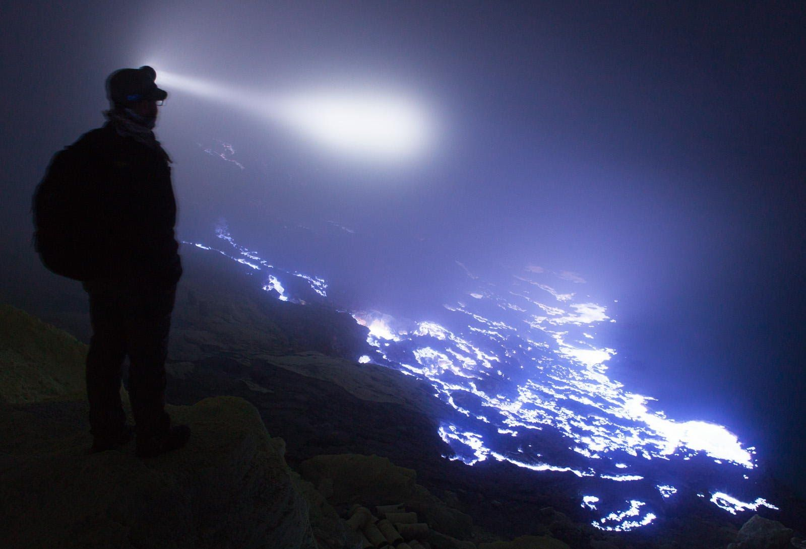 Kawah Ijen Volcano With Glowing Blue Lava In Indonesia - Incredible neon blue lava flames erupt volcano