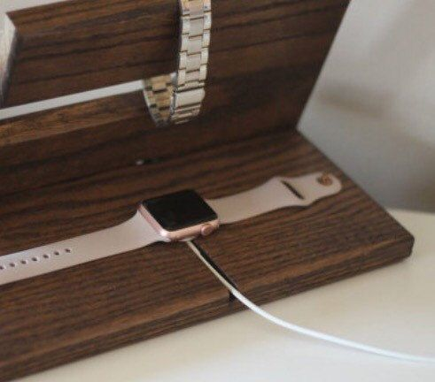 apple watch charger valet night stand oak wood by paybacksabeach