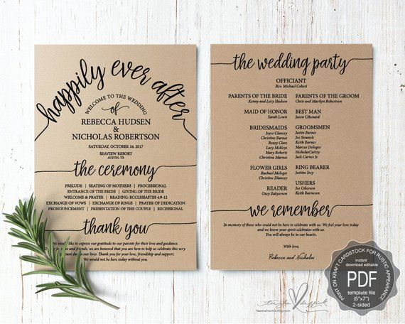 wedding program pdf card template instant download editable
