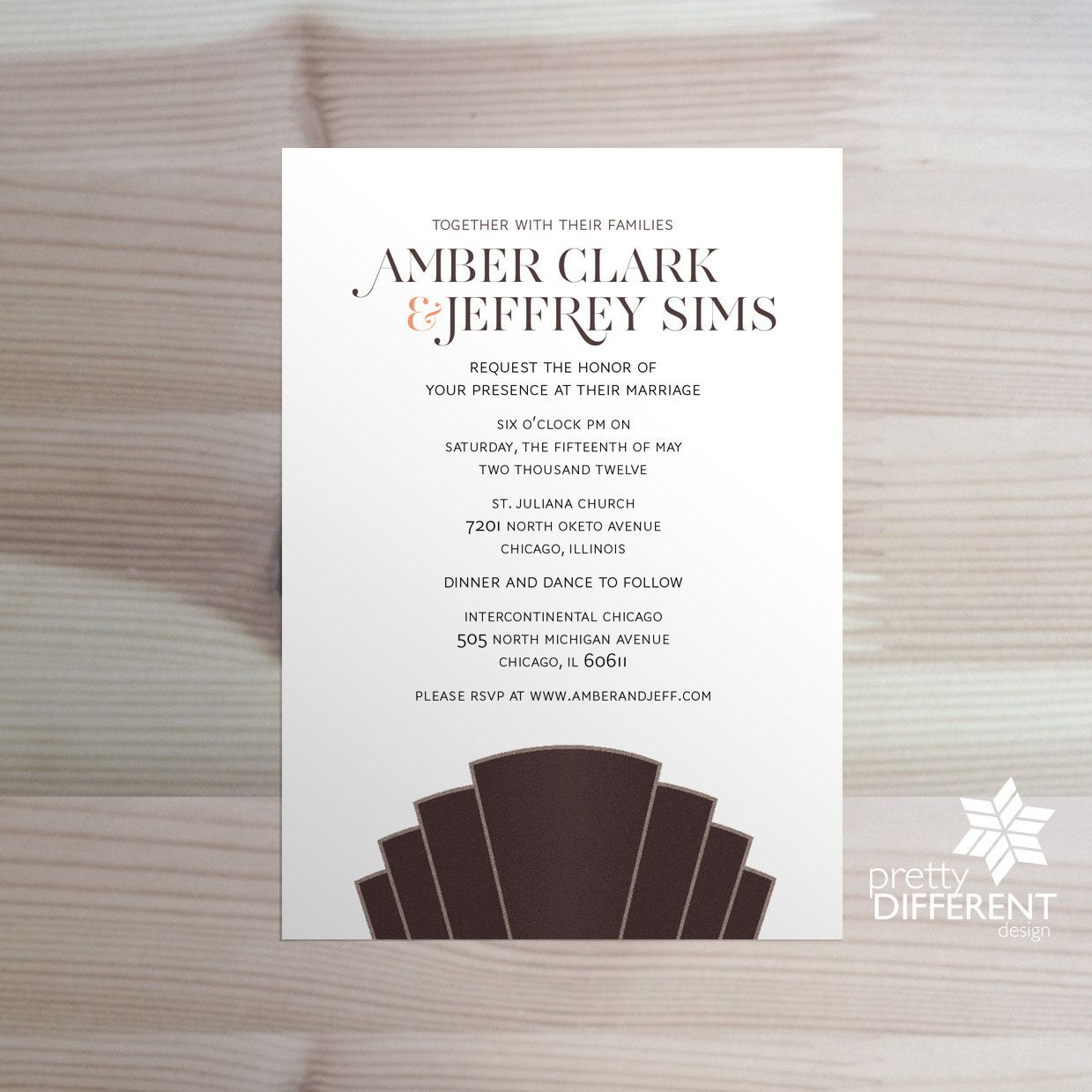 Spring Summer Art Deco Scalloped Wedding Invitation (DIY Printable ...