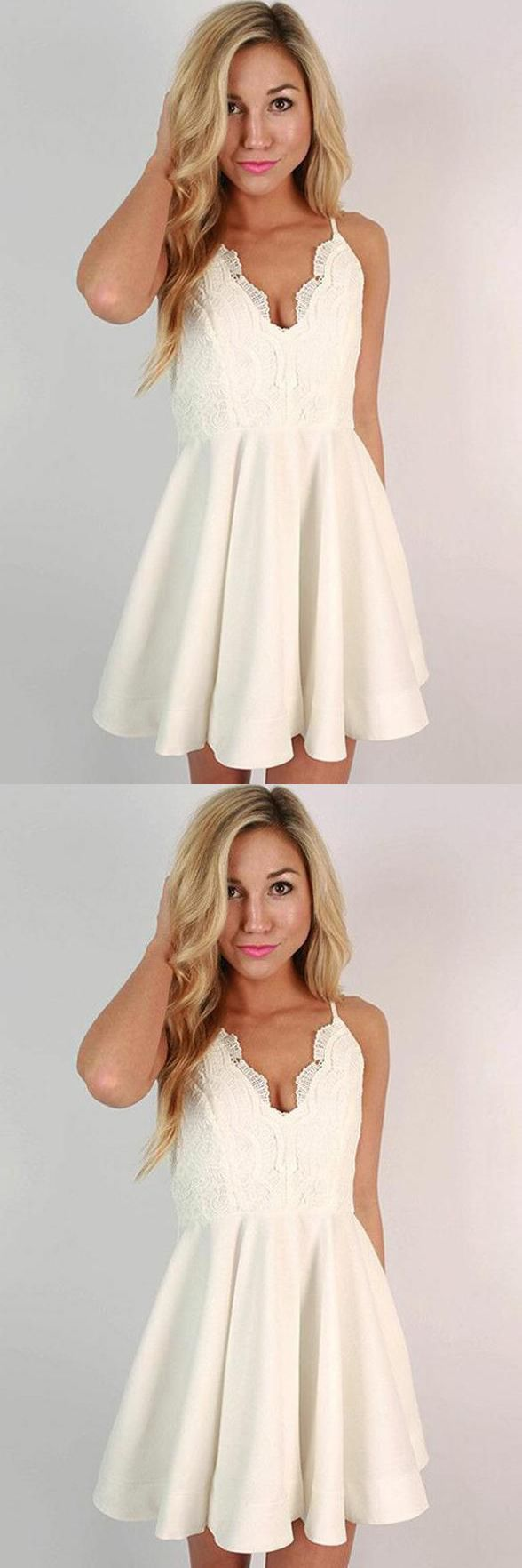 A line spaghetti straps ivory lace short homecoming dresses v neck