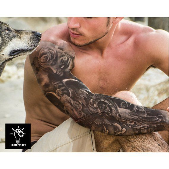 Christian Temporary Tattoo Sleeve Religious Fake Tattoo Sleeve Angel Tattoo Christian Tattoo Religious Tattoo Faux Tatouage Temporaire -   24 religious tattoo sleeve ideas