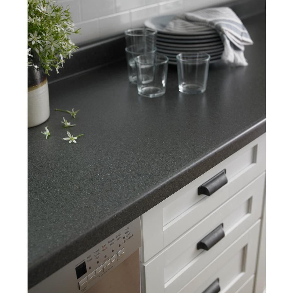 Formica 5 Ft X 12 Ft Laminate Sheet In Smoke Quarstone With Matte Finish 062201258512000 Laminate Countertops Kitchen Countertops Black Laminate Countertops