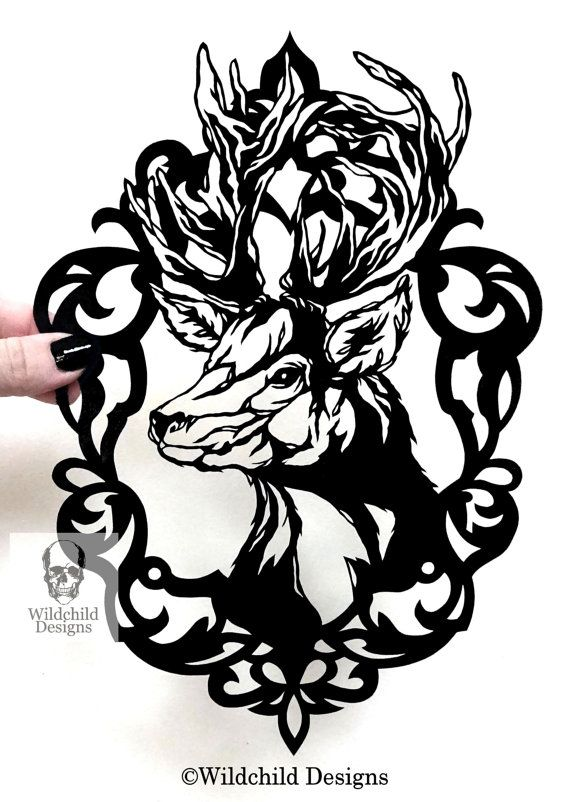 Gothic Designs cameo stag gothic silhouette paper cut template for personal use