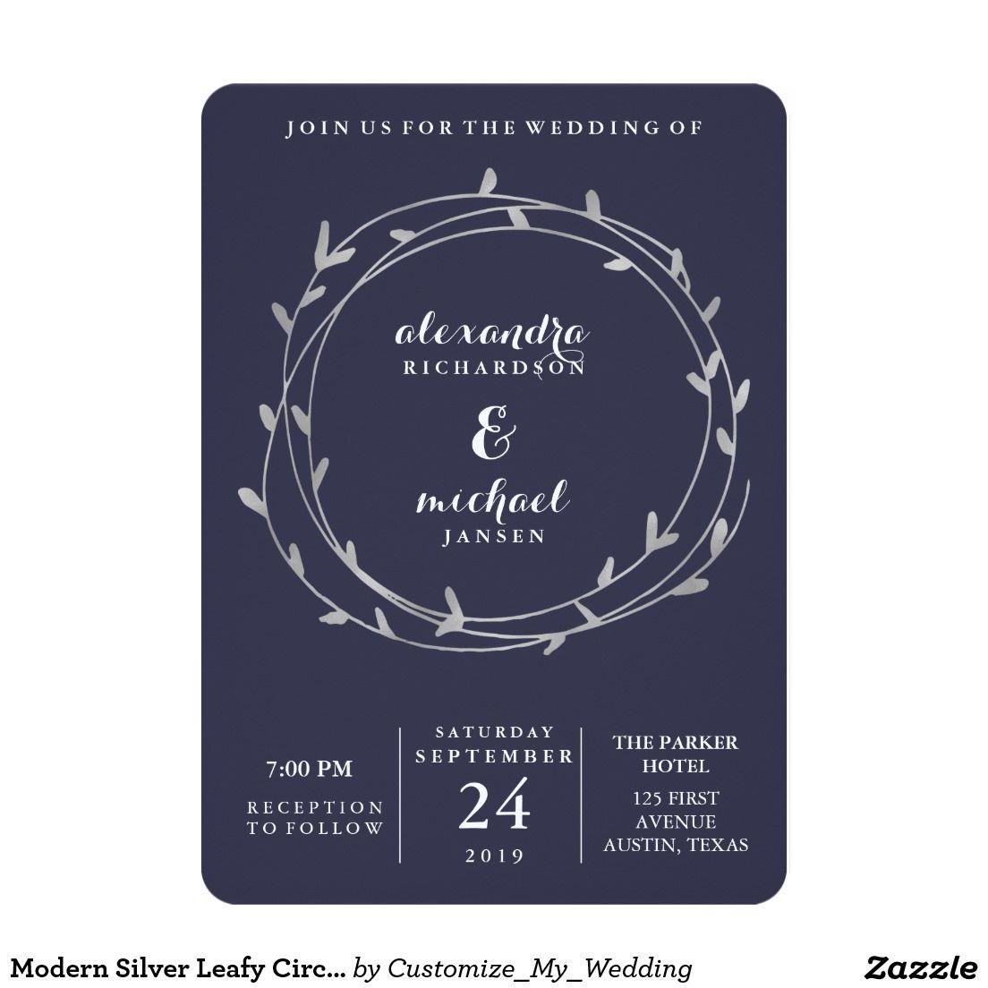 Modern Silver Leafy Circles Midnight Blue Wedding Invitation | Cool ...