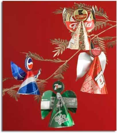 angelitos para decorar rbol de navidad hechos con chapas y latas de refresco recicladas