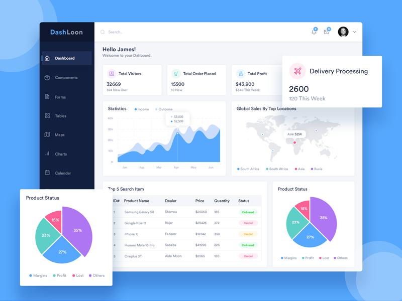 DashLoon Admin Dashboard Analytics Dashboard Template And - Analytics dashboard template
