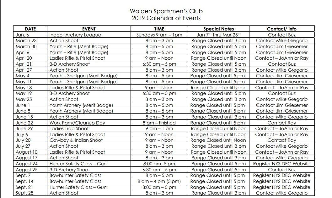 CALENDAR OF EVENTS – Walden Sportsmen's Club