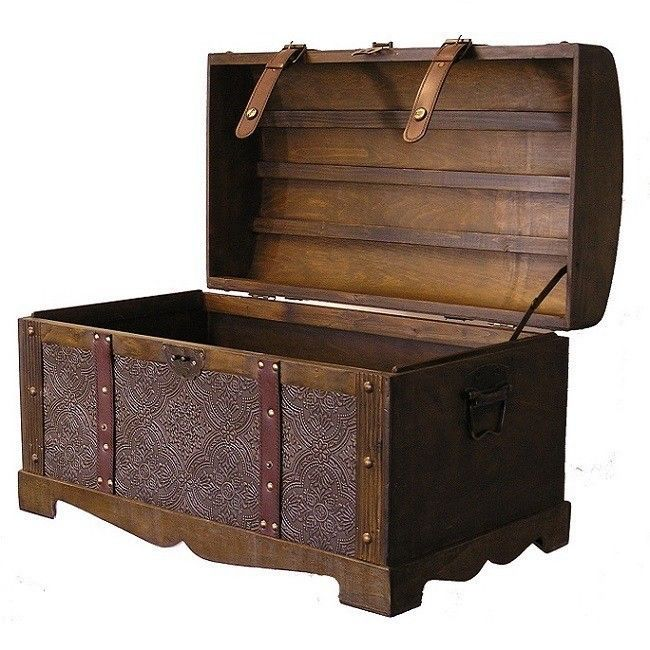 Us 169 7 Treasurechest Antique Wooden Storage Trunk Vintage Steamer Chest Leather Straps Metal Hardware Wooden Chest Wooden Storage Wooden Trunks