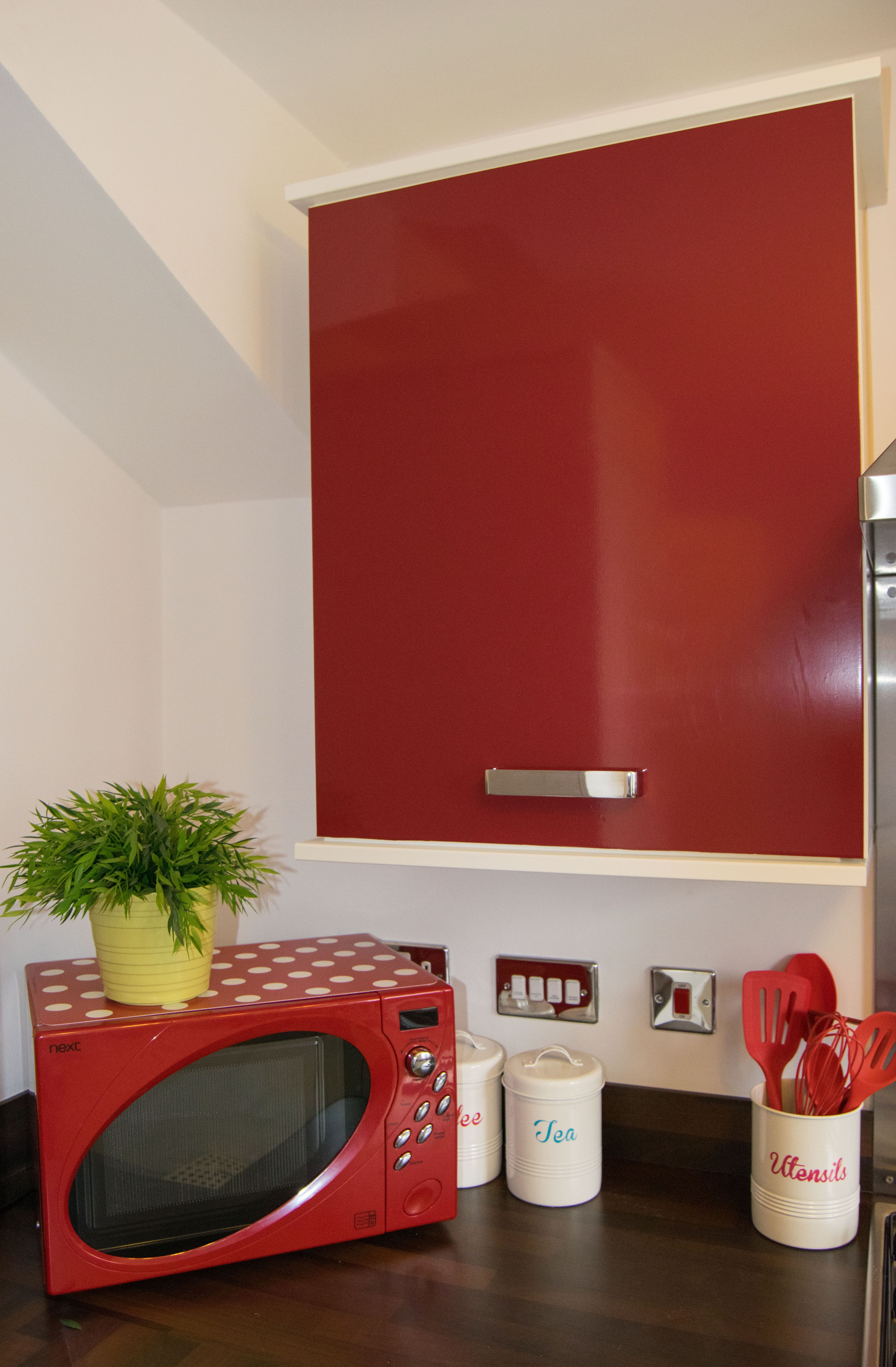 Red Kitchen Cupboard Doors D C Fixr Glossy Red Sticky Back Plastic Gives Bland Kitchen