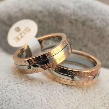 Wholesale calendar ring month rotatable ring rose gold plated