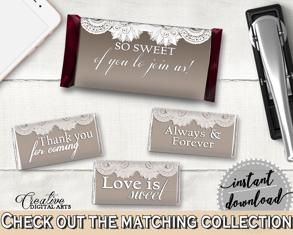 Blush Floral Hershey S Chocolate Bar Wrappers Printable