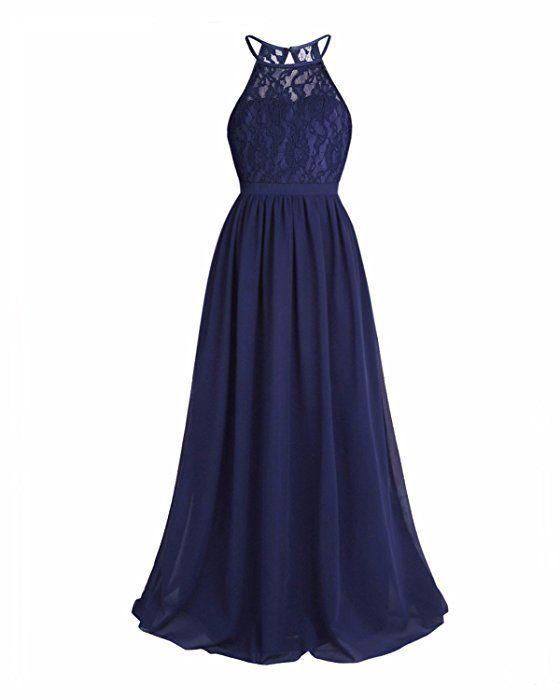 1e5c0d95426c Amazon.com  iEFiEL Girls Halter Lace Chiffon Flower Wedding Bridesmaid Dress  Junior Ball Gown Formal Party Pageant Maxi Dress Navy Blue 14  Clothing