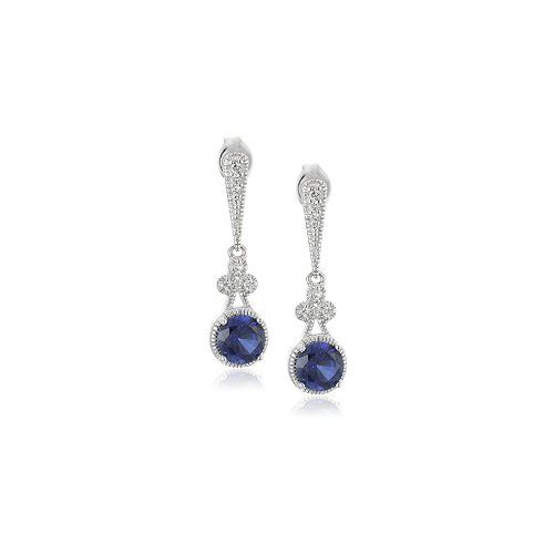 Sterling Silver Created Blue and White Sapphire Round Drop Earrings - $26.18