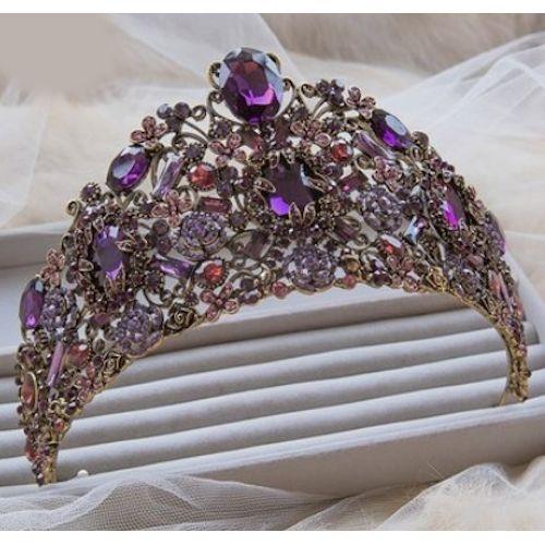 Artisan Purple Crystal Queen Princess Royal Wedding Tiara Crown SKU 10808121