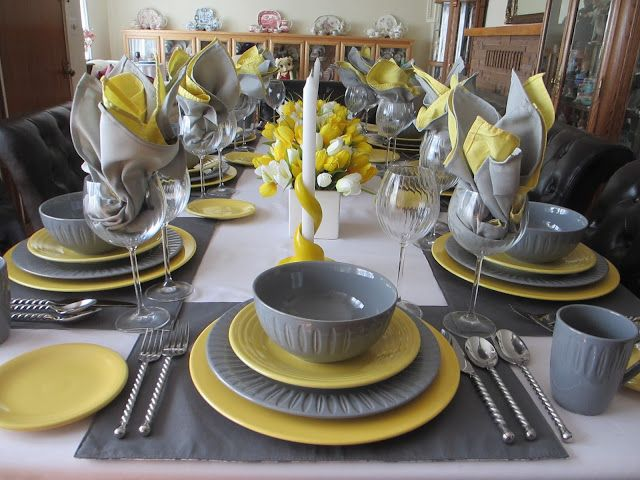 Dansk Gray And Fiesta Sunshine Table Kitchen Table Settings Grey Dining Tables Dinner Table Decor