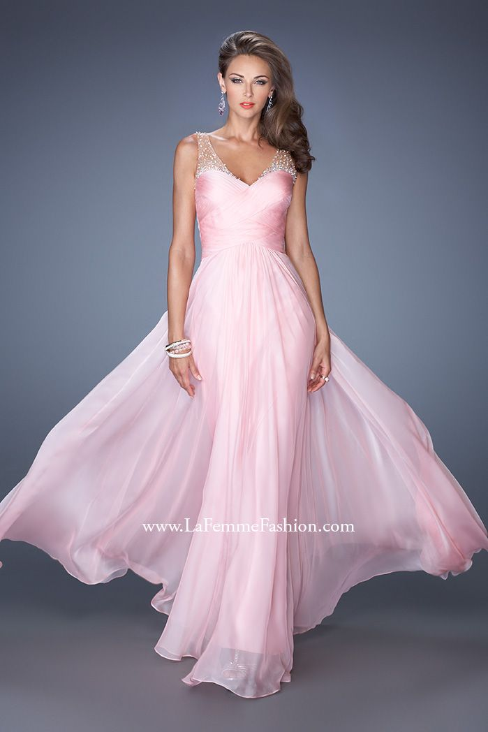 Soft and so pretty pink from La Femme 19697 #ipaprom!!! Bebe'!!! Love this gown in luscious pink!!!
