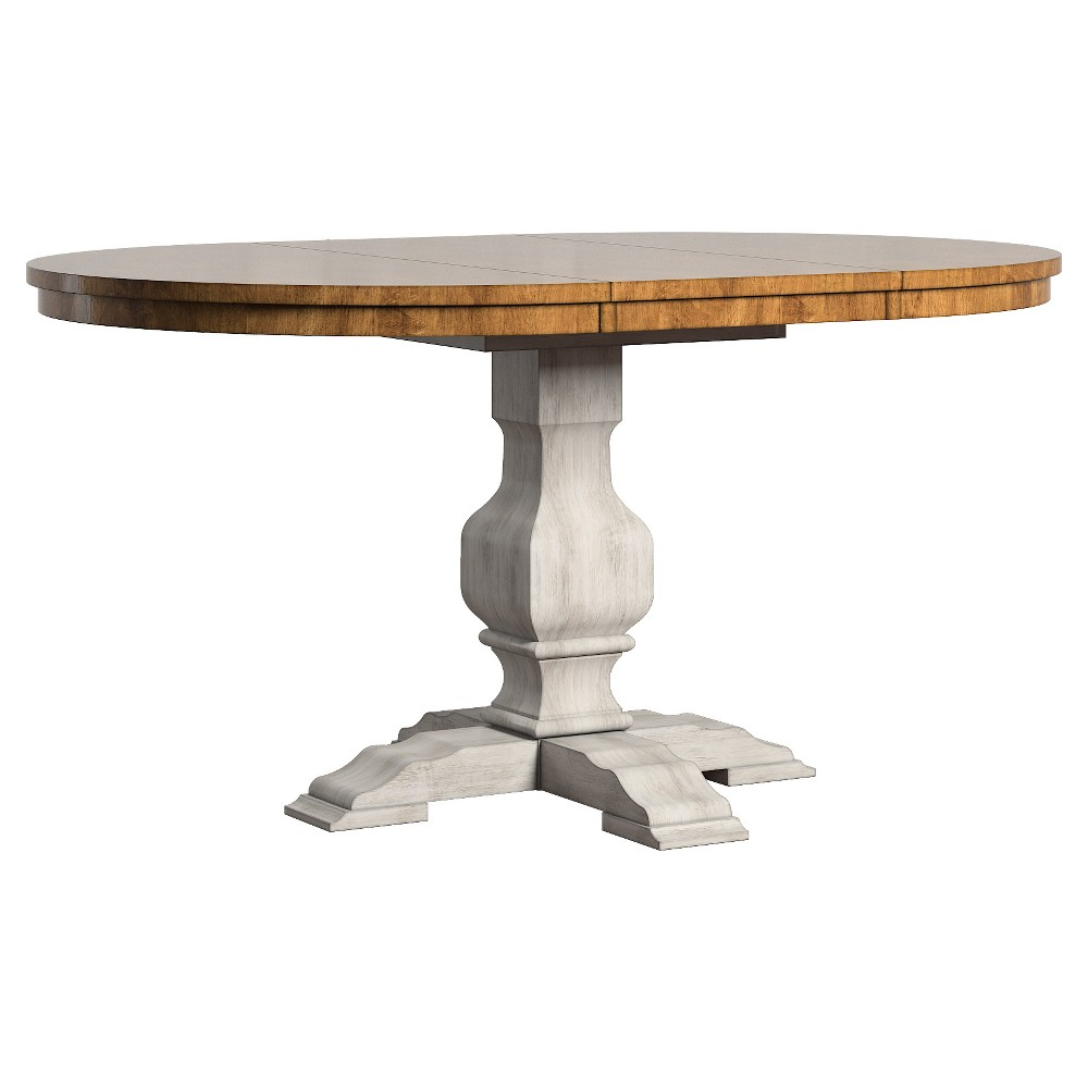 South Hill Oval Extendable Pedestal Base Dining Table Antique White -  Inspire Q