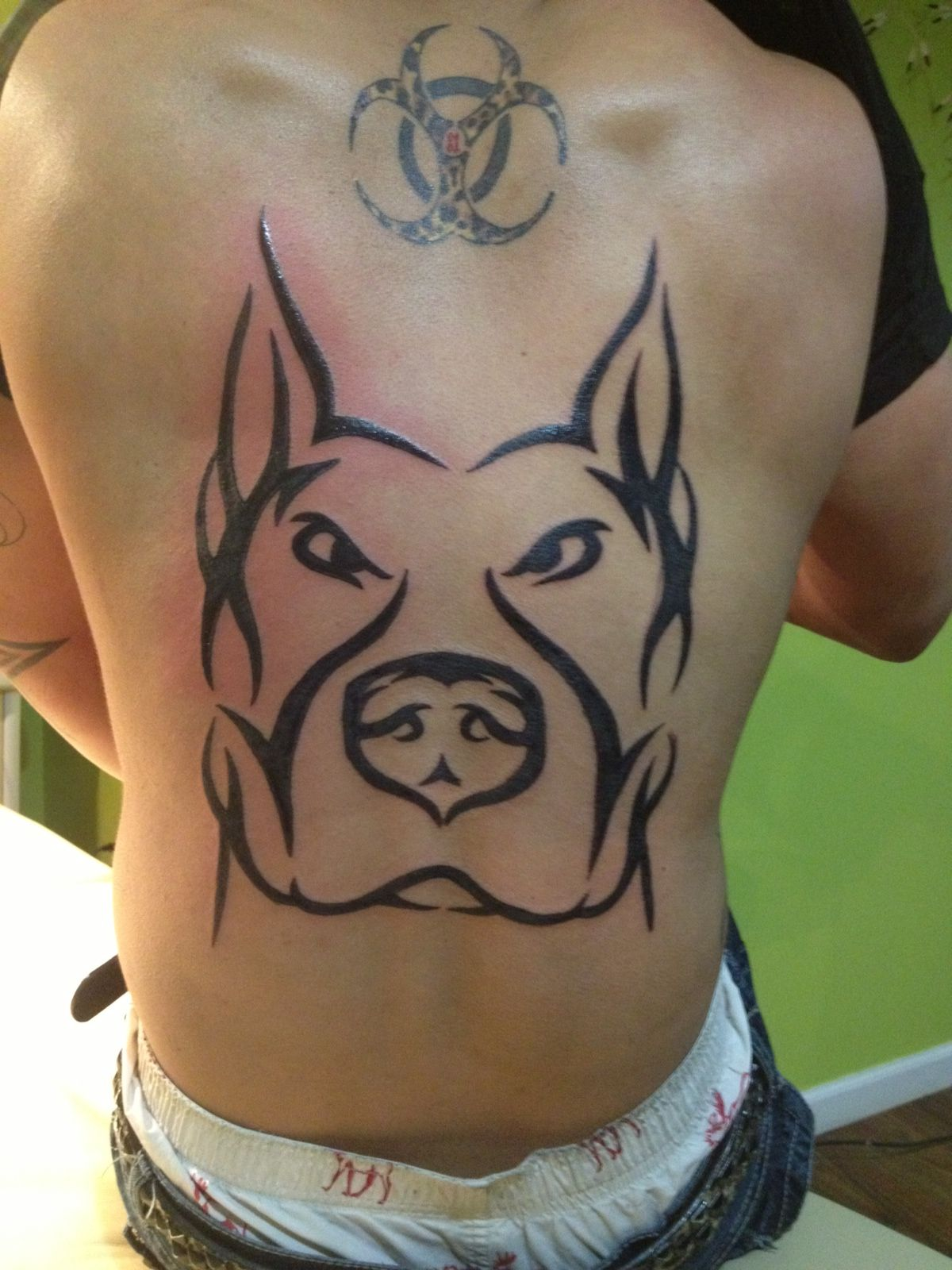 pitbull back tattoo cheetah print biohazard tattoo tat pinterest biohazard tattoo tattoo. Black Bedroom Furniture Sets. Home Design Ideas