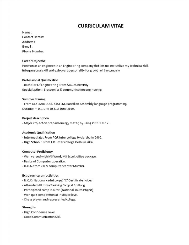 Online Resume Maker For Fresher Engineer