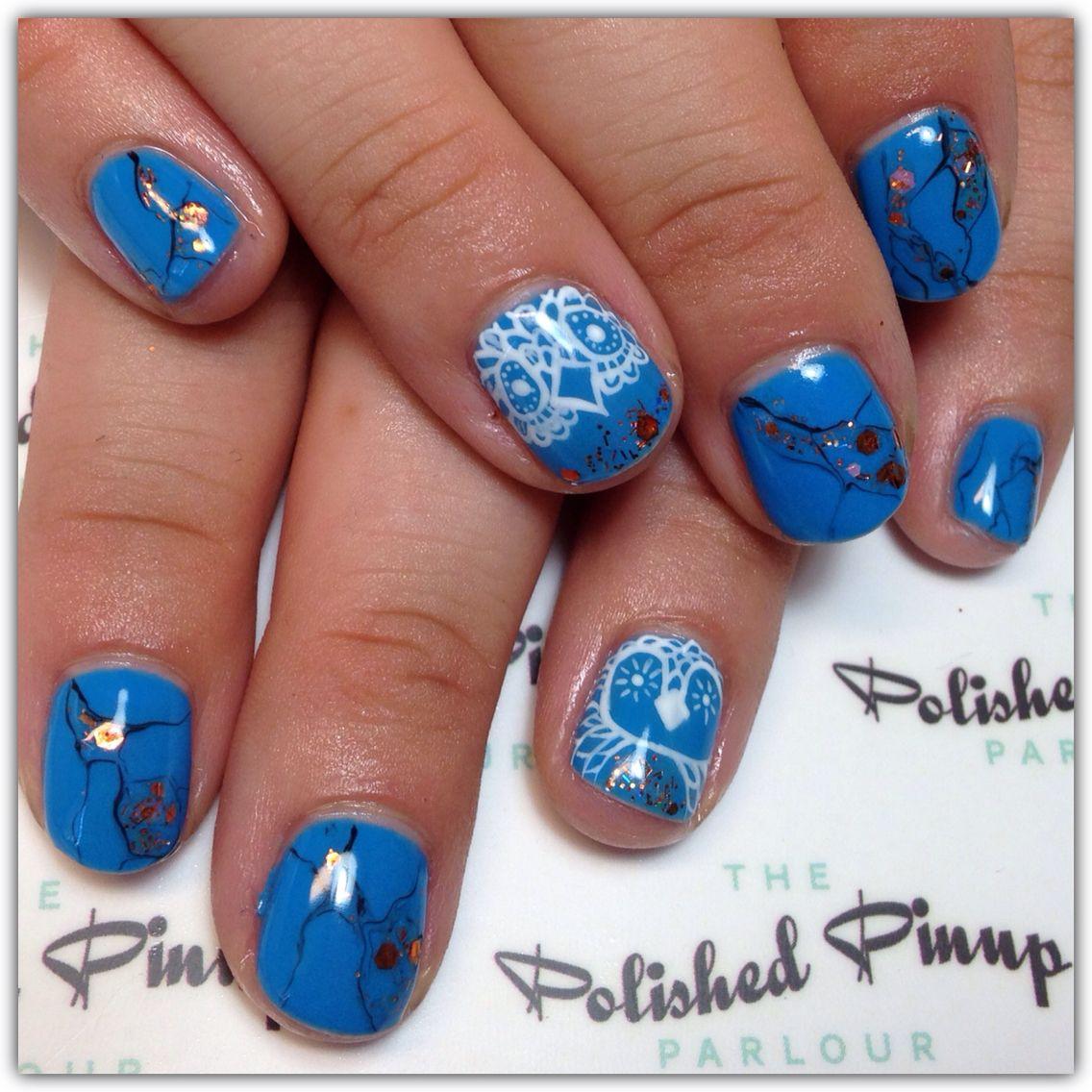 Hand painted owl gel polish nails
