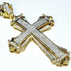 Gold cross charm 25 tall 175ct real diamonds 10k yellow gold mens gold cross charm 25 tall 175ct real diamonds 10k yellow gold mens big pendant aloadofball Image collections