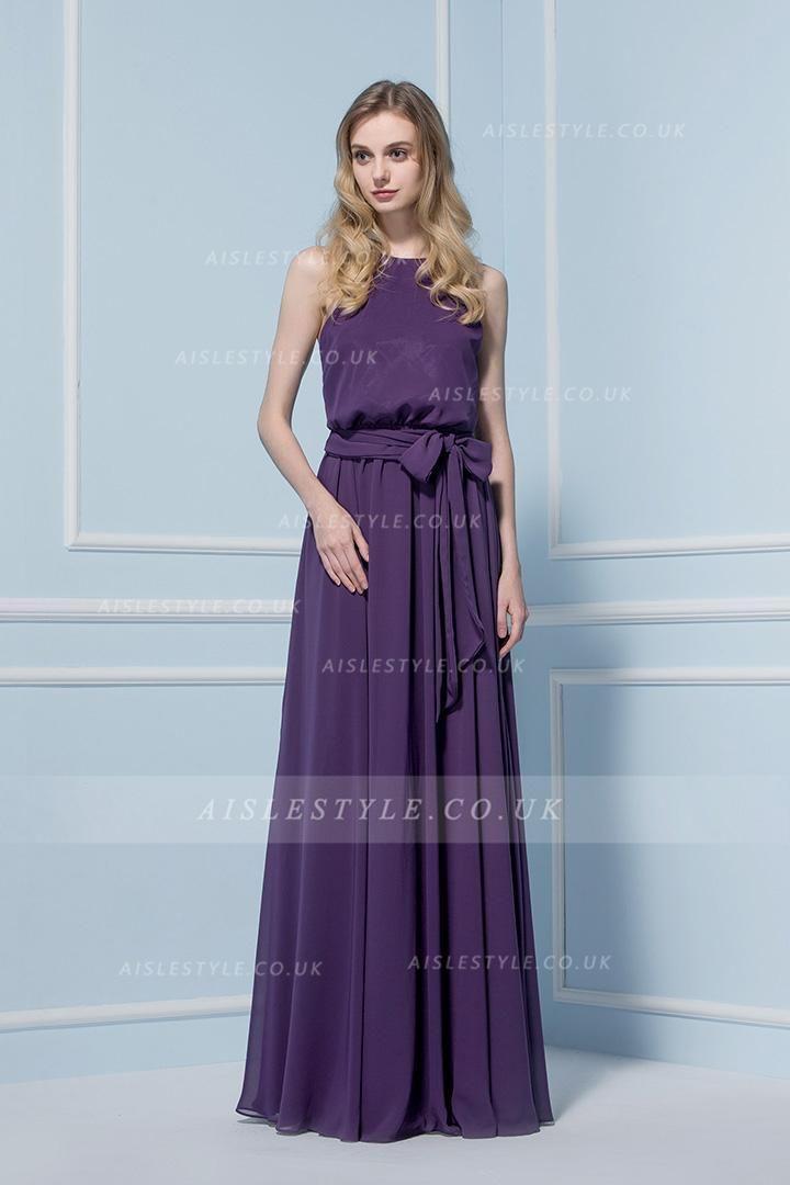 Halter Neck Purple Chiffon Sleeveless Bridesmaid Dress with Sash ...
