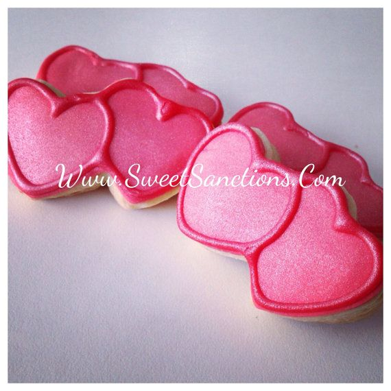 36 sugar Red double hearts