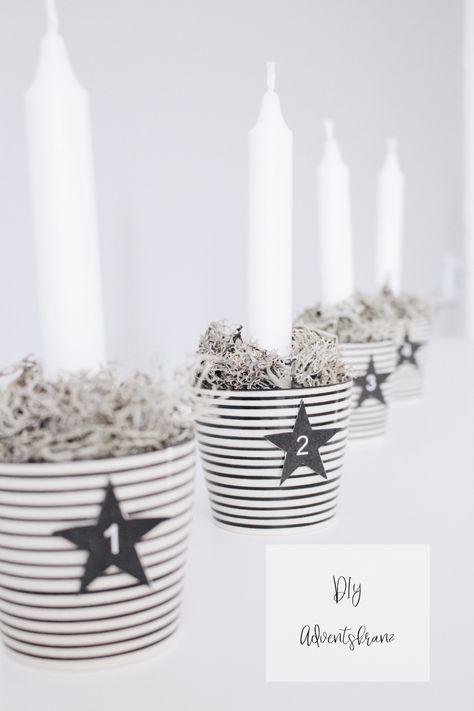 DIY Adventskranz - Weihnachtsdeko für ganz Eilige + Freebie #adventskranzskandinavisch