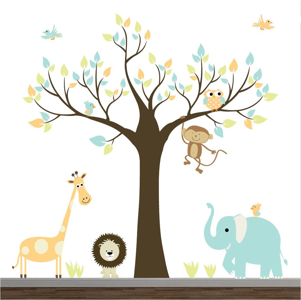 Children Wall DecalsJungle With ElephantMonkey Baby Boy Girl - Nursery wall decals baby boy