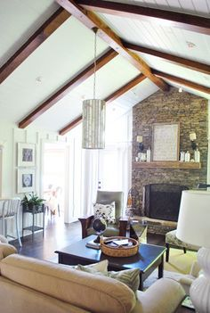 Wood Beamed Vaulted Living Room, White Walls, Hardwood Floor   Google  Search Painted Ceiling