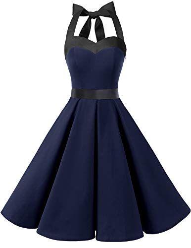 4729c070d0f Dresstells Version3.0 Vintage 1950 s Audrey Hepburn pin-up Robe de soirée  Cocktail Style Halter années 50 à Pois Marine sans Pois 2XL