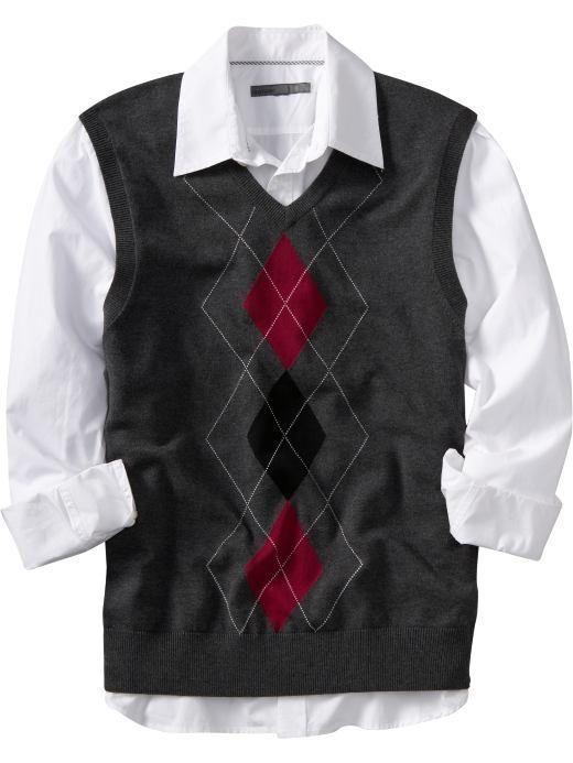 Men's Argyle Sweater Vest - Mens Fashion