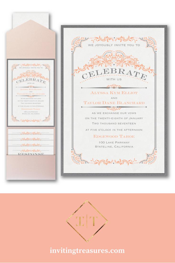 Gray and coral elegant wedding invitations | Classic wedding pocket ...