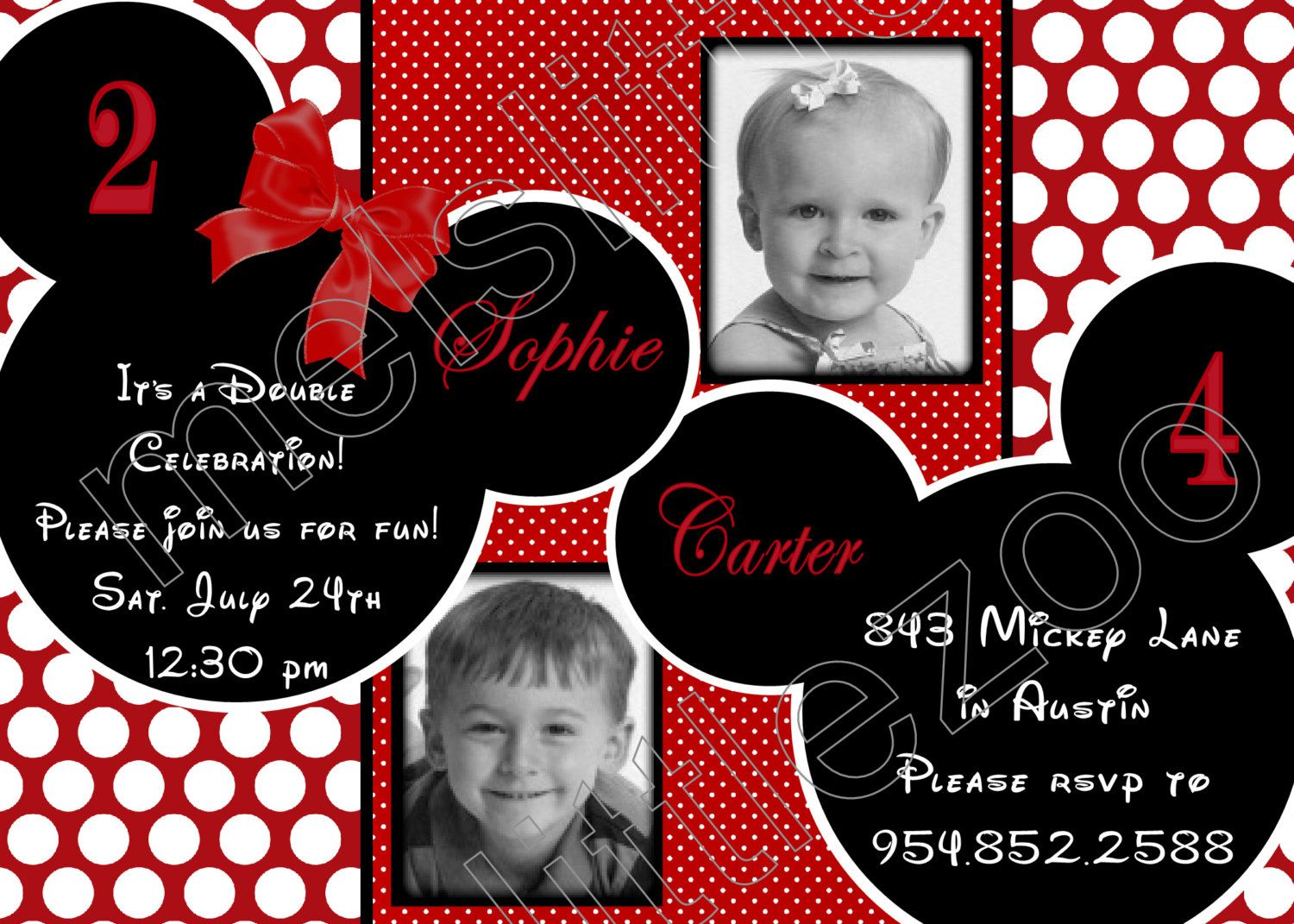 Red and White Polka Dots Twin Minnie Mickey Mouse Digital Birthday ...