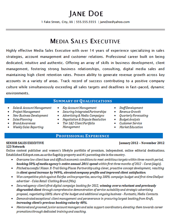 Media Sales Resume Examples Sales Resume Examples Effective Time Management