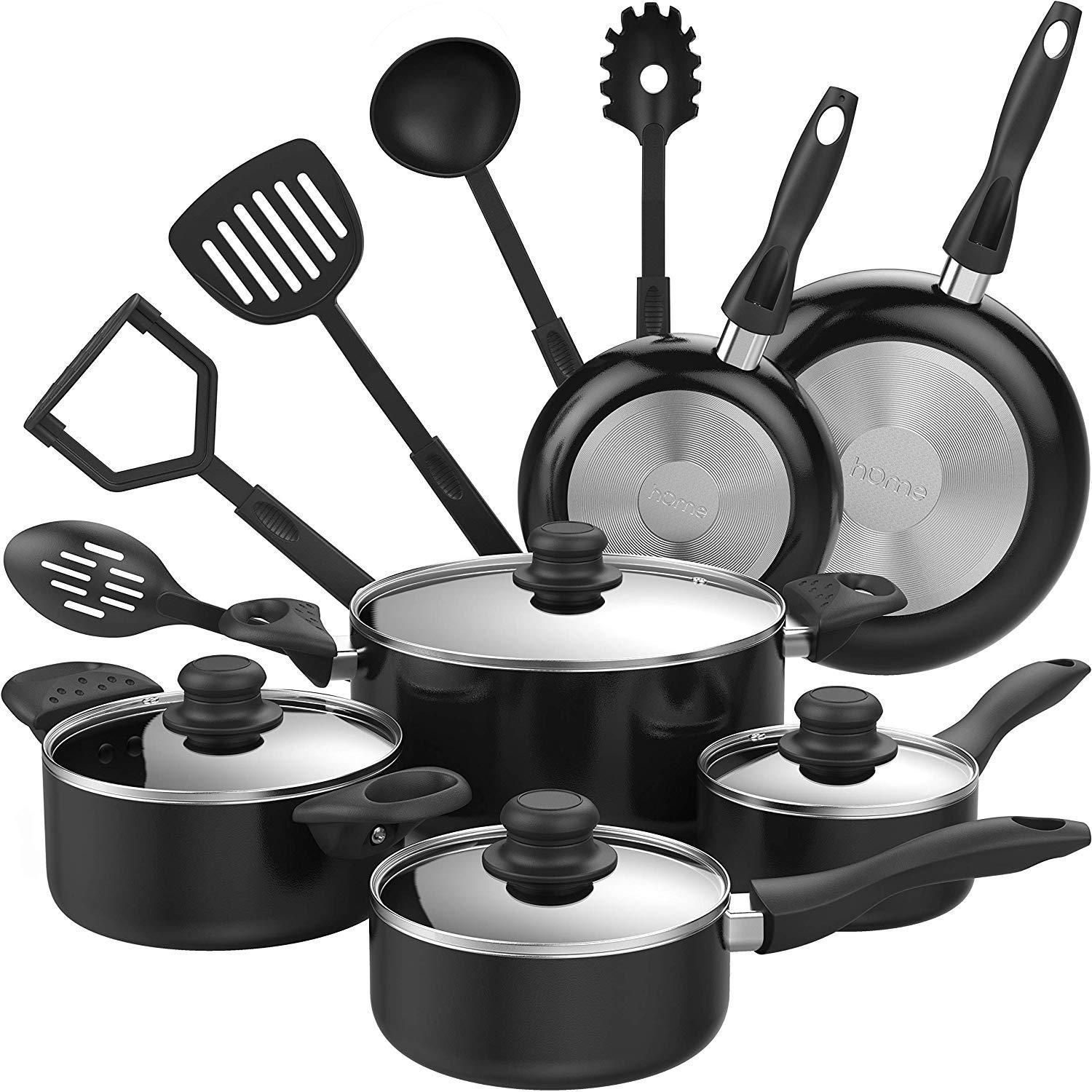 15 Piece Kitchen Cookware Set With Cooking Utensils Non Stick Pot