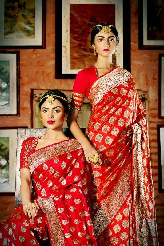 5bccdd40d4708 Abira Jewellery - red and gold benarasi sarees - quintessential bengali  bride