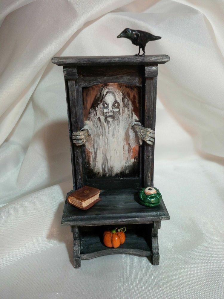 "Miniature Dollhouse Edgar Allen Poe /""THE CROW/"" halloween haunted house 1:12"