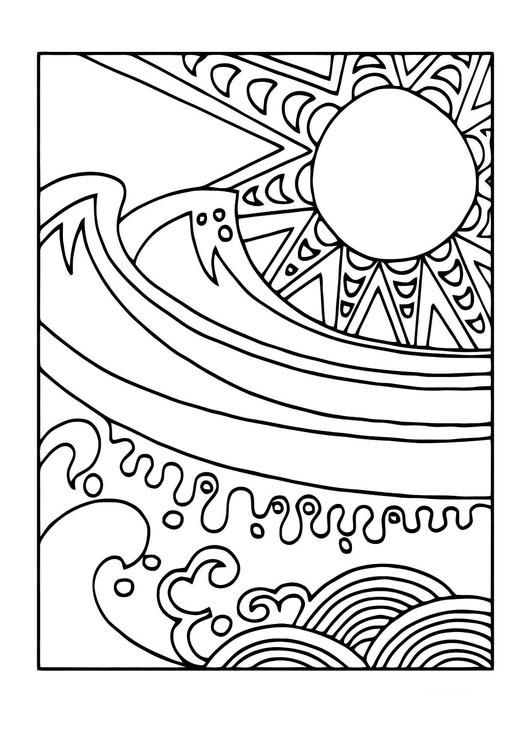 Coloring page sun and sea - coloring picture sun and sea. Free ...