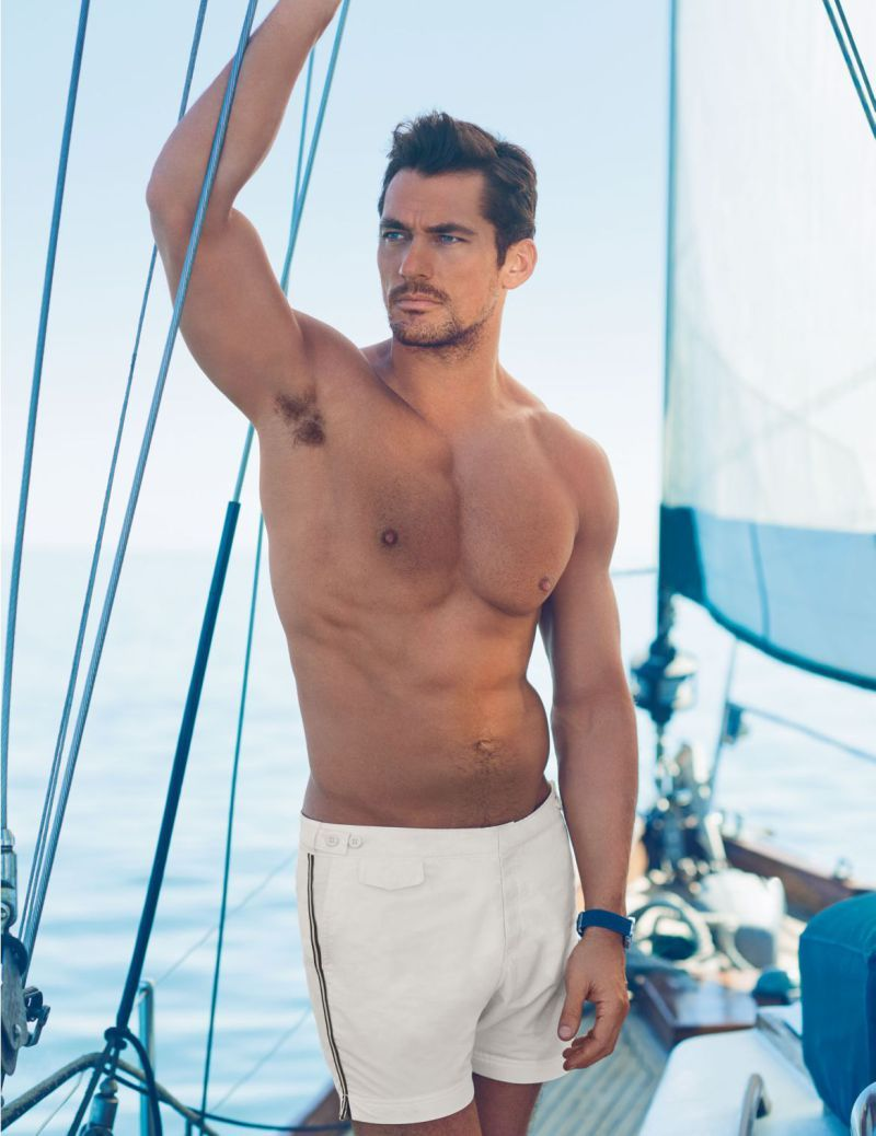 86f8d93f7dcaa Enjoying a day of sailing, David Gandy is pictured in David Gandy for  Autograph Tailored Fit Mid Length Quick Dry Swim Shorts from Marks & Spencer .